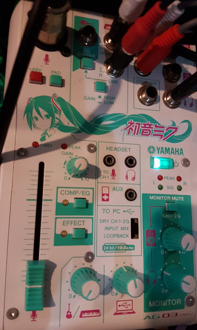 Yamaha AG03-MIKU on top of my PC